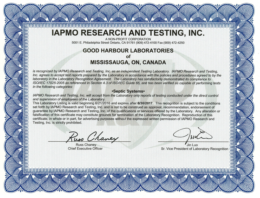 Iapmo Good Harbour Laboratories